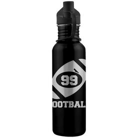 Football and Player Number 24 oz Stainless Steel Water Bottle
