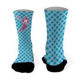 Girls Lacrosse Printed Mid Calf Socks Gingham Lacrosse Female Silhouette