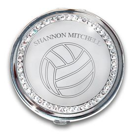 Silver Personalized Volleyball Compact Mirror