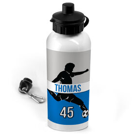 Soccer 20 oz. Stainless Steel Water Bottle Personalized Soccer Guy Name and Number