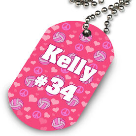 Volleyball Printed Dog Tag Necklace Peace Love Volleyball Pattern