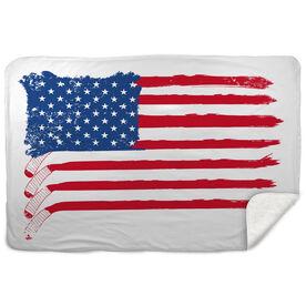 Hockey Sherpa Fleece Blanket American Flag Sticks
