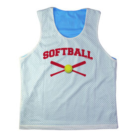 Girls Softball Racerback Pinnie Personalized Softball with Crossed Bats Red