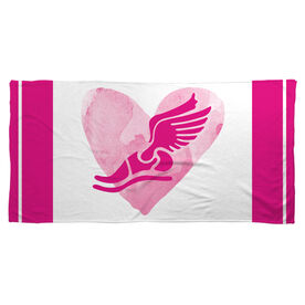 Track and Field Beach Towel Watercolor Heart Winged Foot