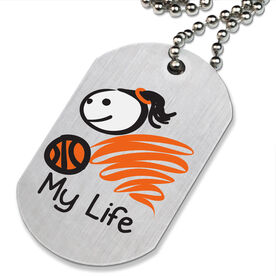 My Life Basketball (Female) Printed Dog Tag Necklace
