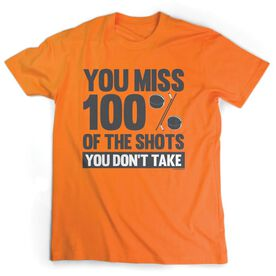 Hockey Tshirt Short Sleeve You Miss 100% of the Shots You Don't Take (w/ Pucks)