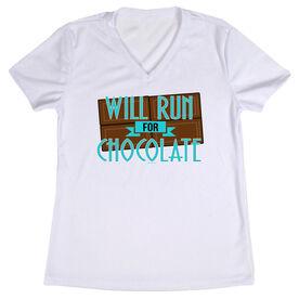 Women's Customized White Short Sleeve Tech Tee Will Run For Chocolate (Deco)