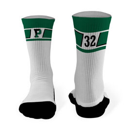 Mid-Calf Socks - Pentucket Youth Lacrosse Logo with Pattern (Green)