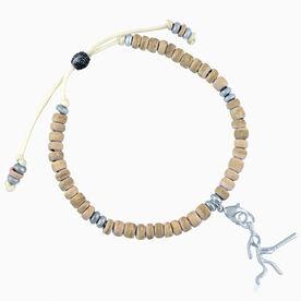 Natural SportBEAD Adjustable Bracelet - Softball Stick Figure Charm