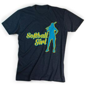 Softball Tshirt Short Sleeve Softball Girl Silhouette