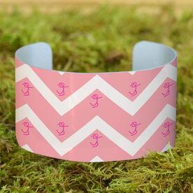 Volleyball Cuff Bracelet (Wide) Chevron Volleyball Girl Stick Figure