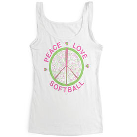Softball Women's Athletic Tank Top Peace Love Softball Flowers