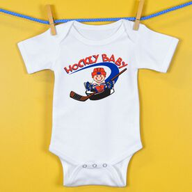 Hockey Baby One-Piece Hockey Baby And Puck
