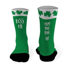 Ping Pong Mid Calf Printed Socks Kiss Me I Play Ping Pong