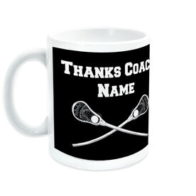 Guys Lacrosse Ceramic Mug Thanks Coach Crossed Sticks With Team Roster