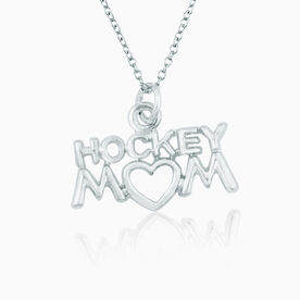 Silver Plated Hockey Mom Necklace