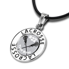 Lacrosse Circle Necklace Team Name and Number Crossed Sticks