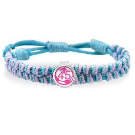 Pink Soccer Ball Your Number Adjustable Woven SportSNAPS Bracelet
