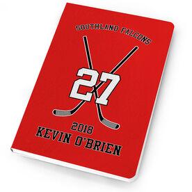 Hockey Notebook Personalized Hockey Team Crossed Sticks