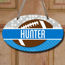 Football Oval Sign Personalized 2 Tier Patterns with Football