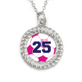 Braided Circle Necklace Soccer Graphic Your Number