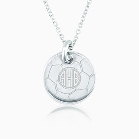 Sterling Silver 16 mm Circle Necklace Soccer Monogram