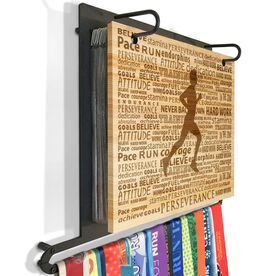 Engraved Bamboo BibFOLIO Plus Race Bib and Medal Display Running Inspiration Male
