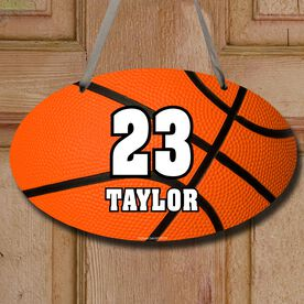 Basketball Oval Room Sign Personalized Big Number with Basketball
