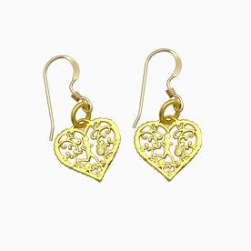 Livia Collection 14K Gold Vermeil Filigree Running Heart Earrings