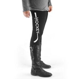 Hockey High Print Leggings Stick with Word