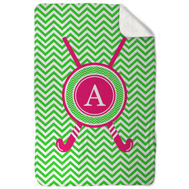 Field Hockey Sherpa Fleece Blanket Single Letter Monogram With Crossed Sticks And Chevron