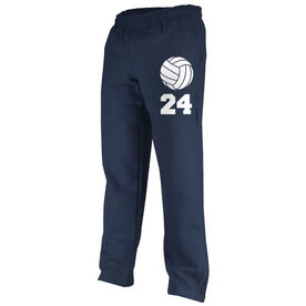 Volleyball Fleece Sweatpants Volleyball with Number