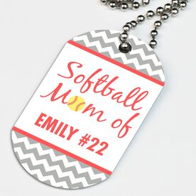 Softball Printed Dog Tag Necklace Personalized Softball Mom Of