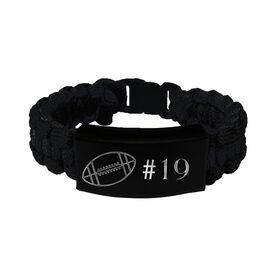 Football Paracord Engraved Bracelet - Football Ball with 1 Line/Black