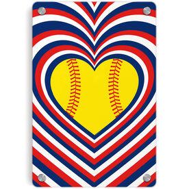 Softball Metal Wall Art Panel - Radial Hearts
