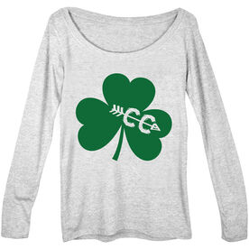 Women's Scoop Neck Long Sleeve Tee Shamrock With Cross Country CC