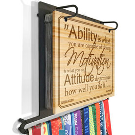 Engraved Bamboo BibFOLIO Plus Race Bib and Medal Display Ability, Motivation, & Attitude Quote