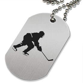 Hockey Player Printed Dog Tag Necklace