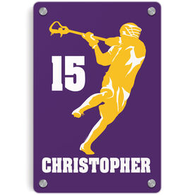 Guys Lacrosse Metal Wall Art Panel - Personalized Jump Shot Silhouette