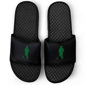 Guys Lacrosse Black Slide Sandals - Latitude Lax Player
