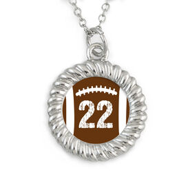 Braided Circle Necklace Football with Your Number