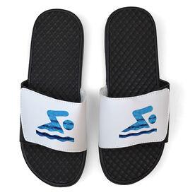 Swimming White Slide Sandals - Swim Icon