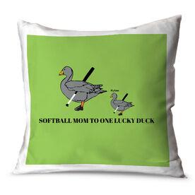 Softball Throw Pillow Softball Mom Lucky Ducks