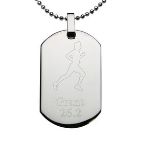 Runner Male Engraved Stainless Steel Dog Tag Necklace