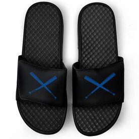 Softball Black Slide Sandals - Crossed Bats