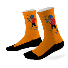 Hockey Printed Mid Calf Socks Zombie Hockey Player