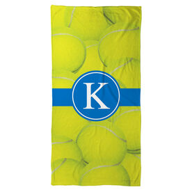 Tennis Beach Towel Personalized Ball Background with Monogram