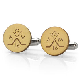 Hockey Engraved Wood Cufflinks Crossed Goalie Stick Monogram With Your Number