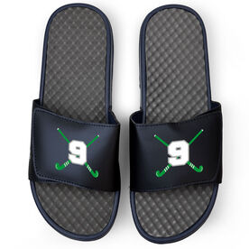 Field Hockey Navy Slide Sandals - Crossed Field Hockey Sticks with Numbers