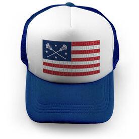 Guys Lacrosse Trucker Hat - American Flag Words